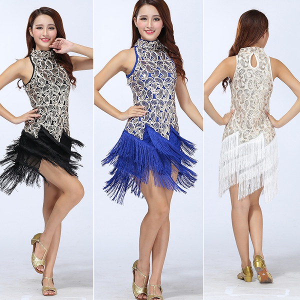 Shinning Women Latin Salsa Tango Rumba Cha Cha Ballroom Dance Dresses Skirts